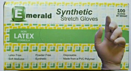 Emerald Synthetic Stretch Disposable Vinyl Gloves Large Non-Latex 100 Count