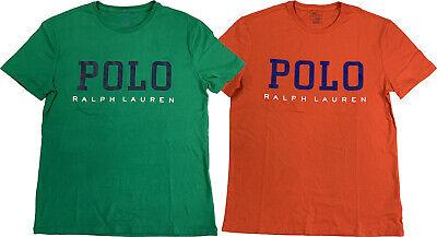 Ralph Lauren Polo Mens Big Print Logo Graphic Cotton Shirt Green/Orange -