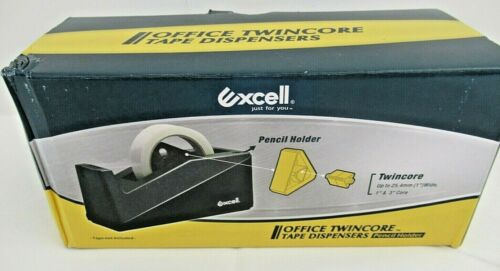 Black Excell Twincore Tape Dispenser 1 Inch And 3 Inch Core Brand New