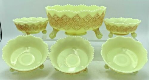 ANTIQUE FENTON CUSTARD URANIUM GLASS BERRY BOWLS CHERRY AND SCALE PATTERN