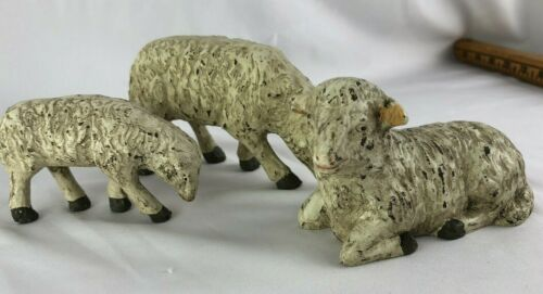 Country Farm House Vintage? Three sheep sheep figurines Paper Mache Composition
