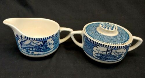 Currier and Ives Creamer and Sugar Set Blue and White Vintage