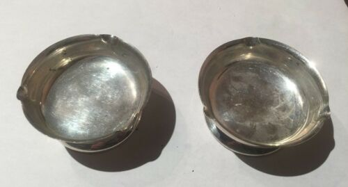 2 VINTAGE QUAKER STERLING SILVER ASH TRAYS