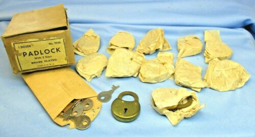 Antique/Vintage N.O.S  Brass Plated Padlocks Box lot of 12 with keys No. 1946