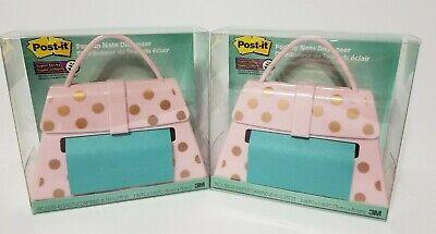 2x Post-it Note Purse Pink Gold Dots Post-it Note Dispenser 2 Purses Nib