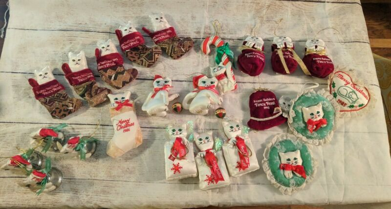 Lot of 23 Fancy Feast Christmas Ornaments from the 80