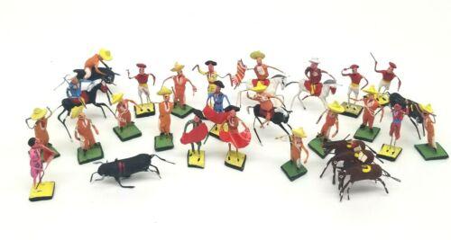 "Vtg Lot 26 of 1940s Wire & Clay Miniature Matador & Bull Figure 2.5"" Mex Folkart"