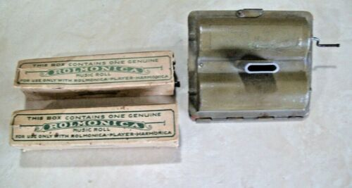 Vintage Rolmonica Player Harmonica Made in Germany With 3 Music Rolls