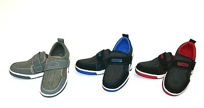 New Boys Tennis Shoes Canvas Athletic Sneakers Youth Kids Strap Skater Size