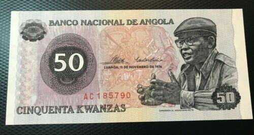 1976 ANGOLA 50 KWANZAS  NICE UNCIRCULATED SCARCE NOTE