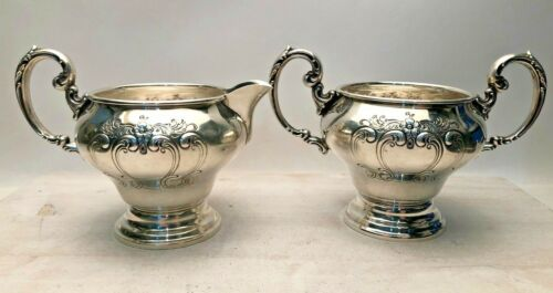 Gorham Chantilly Sterling Silver Creamer and Sugar #1009 & #1010