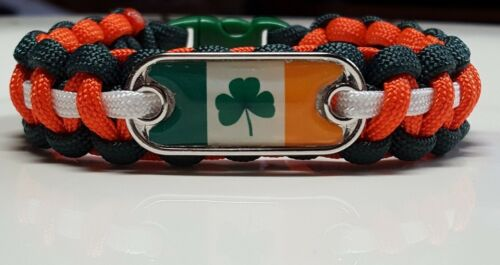 Irish Flag with Clover Leaf Handmade Custom Sized Paracord Bracelet made in USA