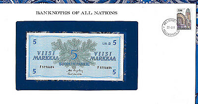 Banknotes of All Nations Finland 5 Markkaa 1963 UNC P106Aa.4 Litt. B