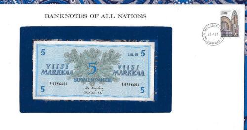 Banknotes of All Nations Finland 5 Markkaa 1963 UNC P-106Aa.4 Litt. B