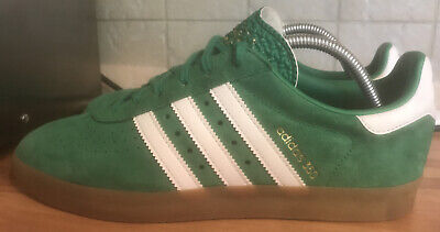 ADIDAS 350 green/white/gold 80s Suede Trainers RARE Deadstock Size Uk9 Worn Once