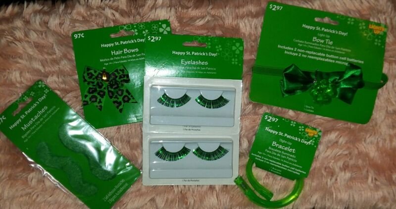 LOT St Patricks Day Accessories Bow-Flashing Bowtie-Bracelet-Eyelashes-Mustache