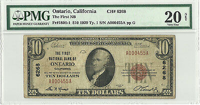 First National Bank Of Ontario California  10 1929 Fr 1801 1 Pmg Vf20