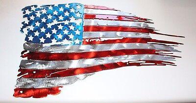 (Patriotic Tattered & Torn American Flag Metal Wall Art  36