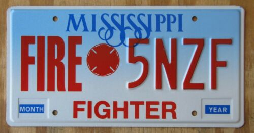 MISSISSIPPI FIRE FIGHTER license plate  1990s  5NZF