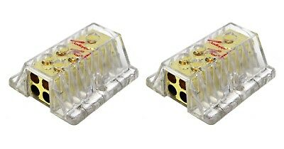 PB-1448 4 Gauge to 8 Gauge AWG Ground Power Distribution Block Gold Finish 2 PCS