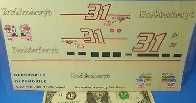 Blue Ridge WATERSLIDE DECALS 1:24 Vintage NASCAR Oldsmobile #31 Rodddenbery's
