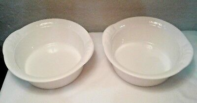 White Oven Tableware -  TWO VILLEROY & BOCH WHITE EMBOSSED PORCELAIN OVEN TO TABLEWARE MADE IN GERMANY