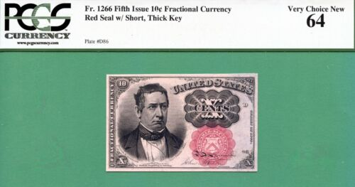 FIFTH ISSUE FRACTIONAL 10 Cent MEREDITH - Fr 1266 SHORT THICK KEY - PCGS CU 64
