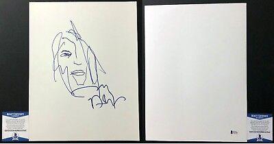 Cool Johnny Depp Signed 11x14 Self Portrait Drawing Jack Sparrow BAS Beckett