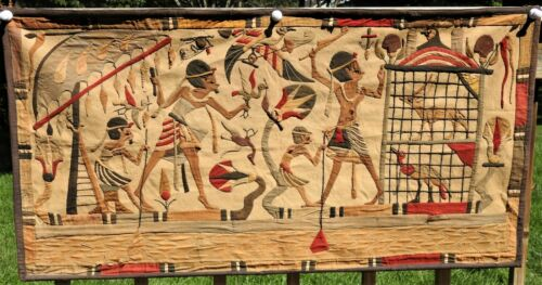 """1920s 1930s Egyptian Applique Panel Tapestry 25x50"""" African Handsewn Souvenir"""