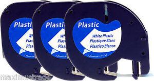 3 komp. Farbbandkassetten für Dymo LetraTag XR XM 2000 12mm schwarz auf weiß