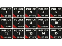 Police 14 CTSFO embroidery patches 4x4.5 hook blue corner