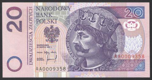 Poland 20 zlotych 1994 UNC AA0009358