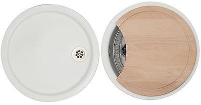 NEU Rieber Spülbecken Set Küchen Spüle weiß rund Einbauspüle + ... | {Spülbecken küche rund 54}