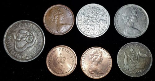 7 mixed lot Australia & New Zealand Coins dated 1919-1970