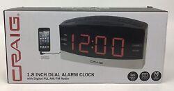 Craig 1.8 Inch Dual Alarm Clock w/Digital PLL AM/FM Radio *NEW* v1
