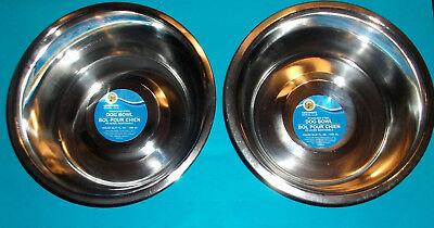 2 PK STAINLESS STEEL DOG CAT FOOD/WATER/BOWL DISH 52.4 oz LARGE PET