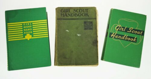 3 Vtg Girl Scout Handbook Manuals Hardback Books 1930s-50s Girl Americana