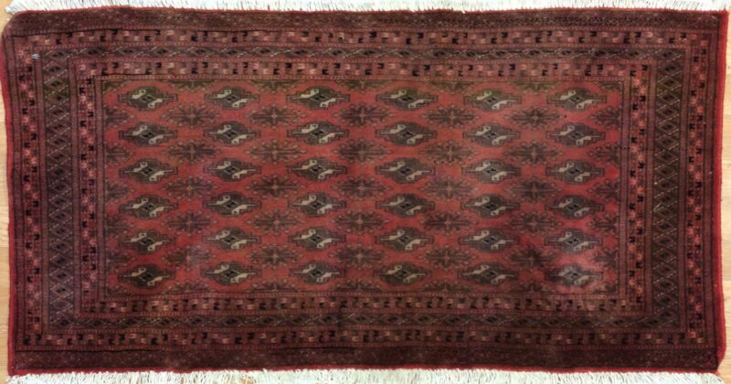 Youthful Yamout - 1960s Vintage Turkmen Rug - Tribal Carpet - 1.10 X 3.9 Ft.