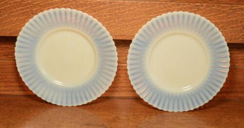 "2 Vintage Depression Glass MacBeth Evans White Monax Petalware 6-1/4""  Plates"