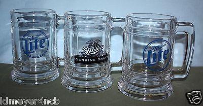 TRIO OF VINTAGE MILLER LITE & GENUINE DRAFT GLASS BEER MUGS