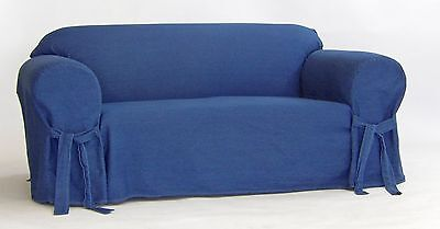 Cotton Loveseat - True Denim Blue Jean Cotton Washable  Sofa/Loveseat Chair Slipcover + Bow Tie