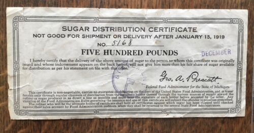 Extremely Rare WW I State of Michigan Sugar Distribution Certificate 500 pounds