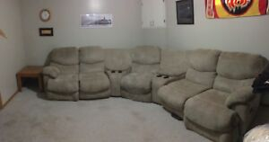 UltraSuede Sectional Media Couch