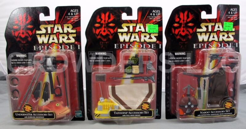 NEW//1998! 4 STAR WARS ACCESSORY SETS EPISODE-1//Tatooine//Naboo//Sith//Underwater