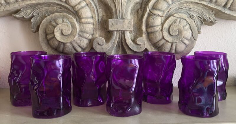 Set Of 8 Purple Pinched Dimpled Glasses Rocks Tumblers