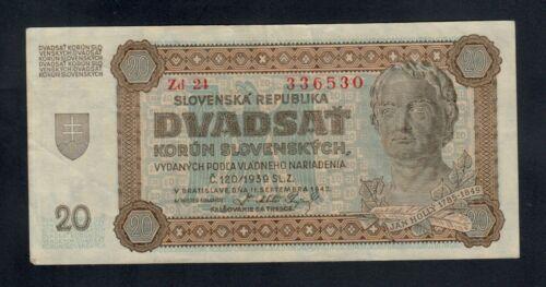 SLOVAKIA  20 KORUN 1942   PICK # 7a VF.