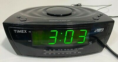 Timex T227BQ Large Display Alarm Clock Radio with MP3 Line-In (Black)