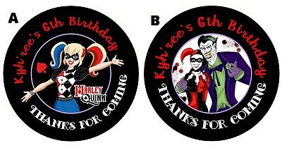 HARLEY QUINN & Joker PERSONALIZED ROUND LABELS BIRTHDAY PARTY STICKERS - Jokers Party Supplies