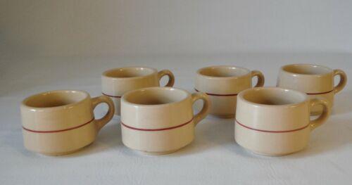 Set of 6 Vintage Incaware Shenango China Restaurant Ware Coffee Cups Tan