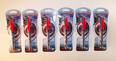 Set of 6 Captain America Black Pens and Note Pads - Nice Party Favors - Party Of America